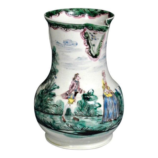 Antique English Saltglaze Cider Jug with Figural Polychrome Decoration, Mid-18th Century. For Sale