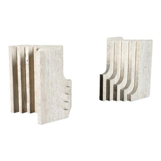 1960s Italian Travertine Coffee End Table Bases - a Pair For Sale