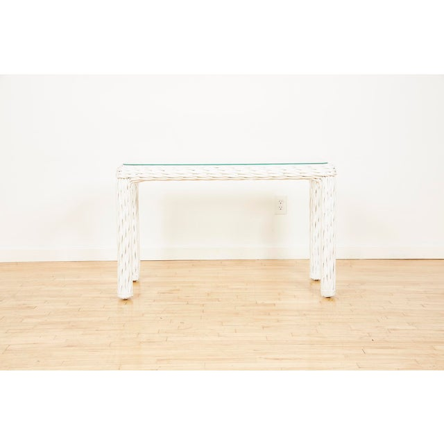 Vintage Thick White Wicker Console Table, 1980s For Sale - Image 13 of 13