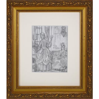 """Vintage Graphite Drawing for """"Dangerous Liaisons"""" by Russian Illustrator Anatoly Itkin For Sale"""