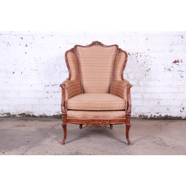 Antique French Carved Wing Back Lounge Chair For Sale - Image 13 of 13