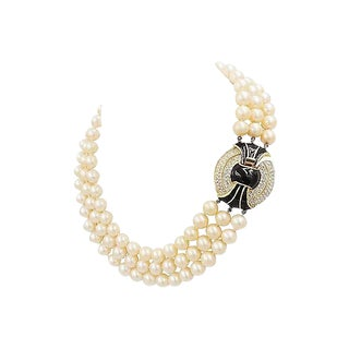1980s Kenneth Lane Deco Style Faux-Pearl Necklace For Sale