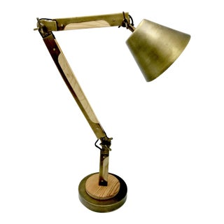 Brass & Wood Architect's Mechanical Lamp For Sale