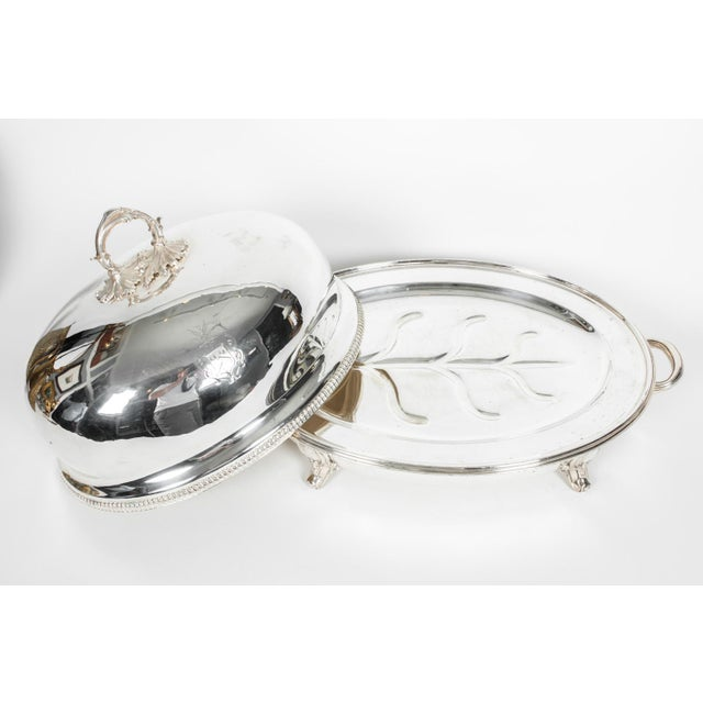 Metal English Silver Plate Venison Dish With Covered Dome For Sale - Image 7 of 13