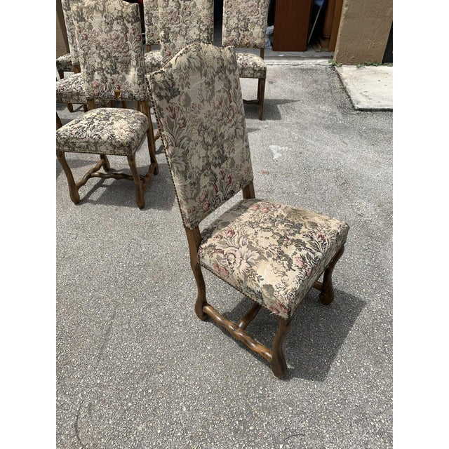 1900s Vintage French Louis XIII Style Os De Mouton Dining Chairs- Set of 10 For Sale - Image 11 of 13