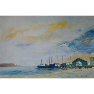Fishing Boats at Dawn Nautical Watercolor Painting