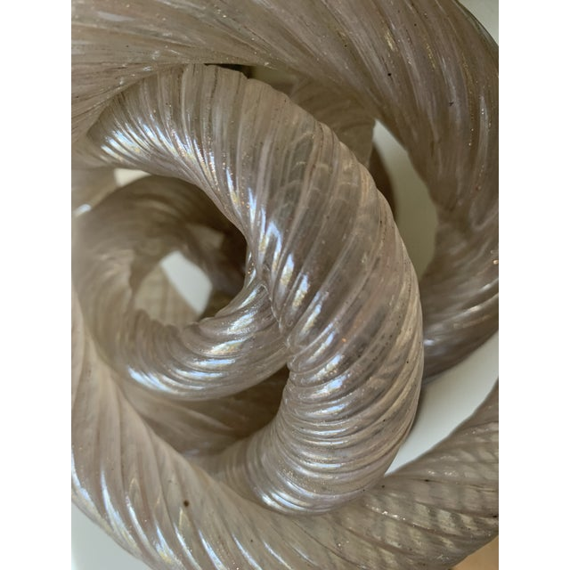 Light Pink Mid 20th Century Twisted Rope Glass Knot Sculpture For Sale - Image 8 of 10