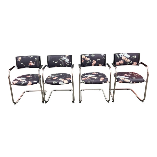 Vintage Mid Century Bent Chrome Tube Newly Upholstered Armchairs- Set of 4 For Sale