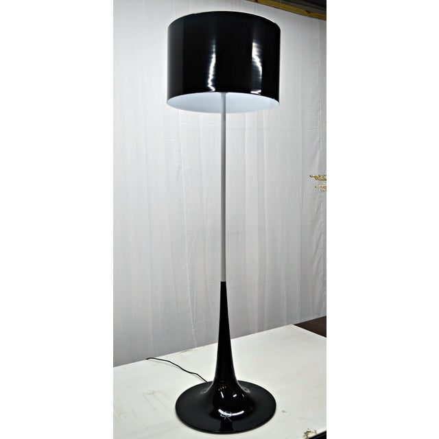 Mid Century Black & White Tulip Floor Lamp - Image 2 of 5