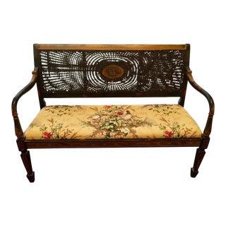 Vintage Cane Upholstered Bench Settee For Sale