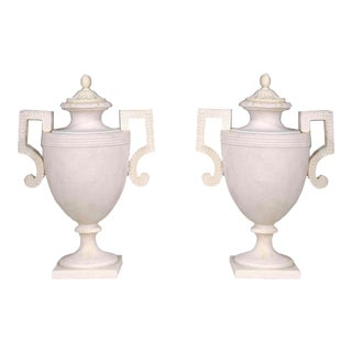 Classical Marble-Effect Cast Resin Urns for Indoors or Outdoors- a Pair For Sale