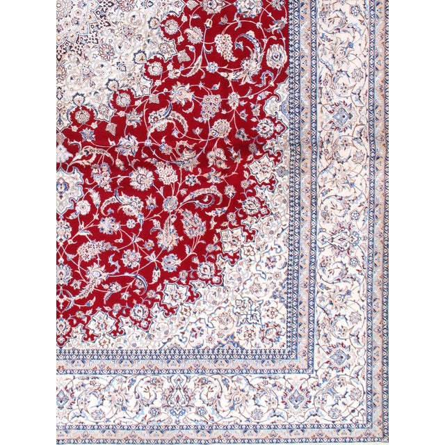 Islamic Pasargad N Y Persian Nain Hand-Knotted Silk and Wool Pile Rug - 10′3″ × 13′9″ For Sale - Image 3 of 3