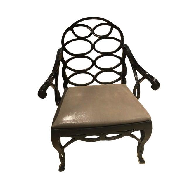 """Truex American Furniture """"Loop Chair"""" Ebony Leather - Image 1 of 4"""