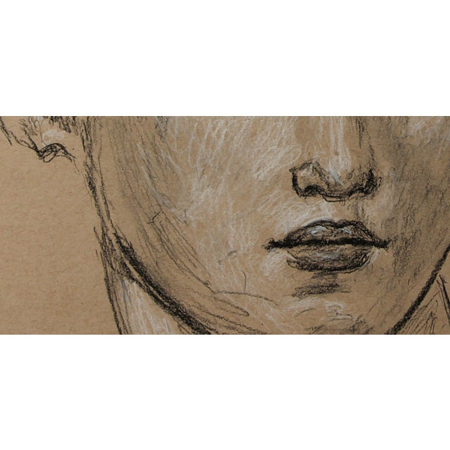 """Sarah Myers Sarah Myers Contemporary """"Head of a Woman"""" Charcoal Drawing For Sale - Image 4 of 8"""