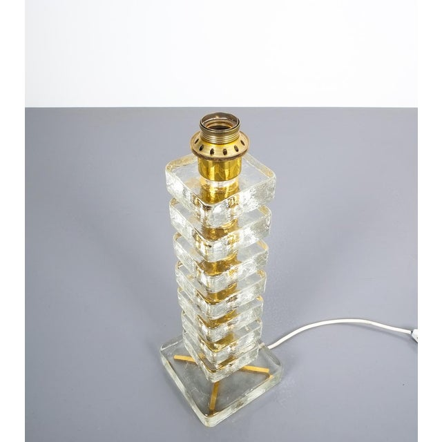 Metal Pair of Large Bakalowits Square Block Glass Table Lights, Austria, 1970 For Sale - Image 7 of 9