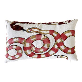"Forsyth Pierre Frey Venimeuses Embroidered Linen Pillow, 21"" For Sale"