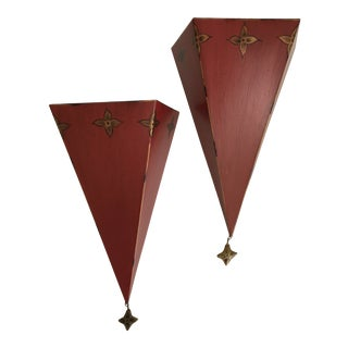 Dark Red Metal Tole Wall Shelves/Sconces With Gold Accents - a Pair For Sale