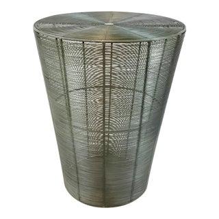Arteriors Industrial Metal Basket Side Table For Sale
