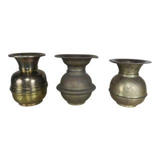 Three Vintage Brass Chewing Tobacco Spittoons For Sale