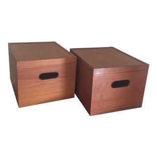 Vintage Hundevad Danish Teal File Boxes - A Pair For Sale