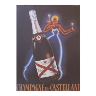 1980's French Champagne Poster, Champagne De Castellane (Reproduction), by Faliucci For Sale