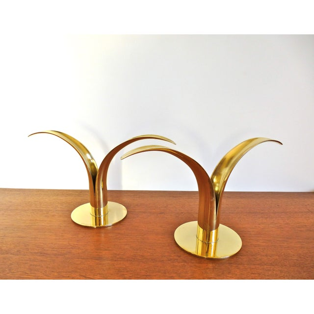 Ystad Metall Brass Lily Candle Holders/Vases - Image 7 of 8