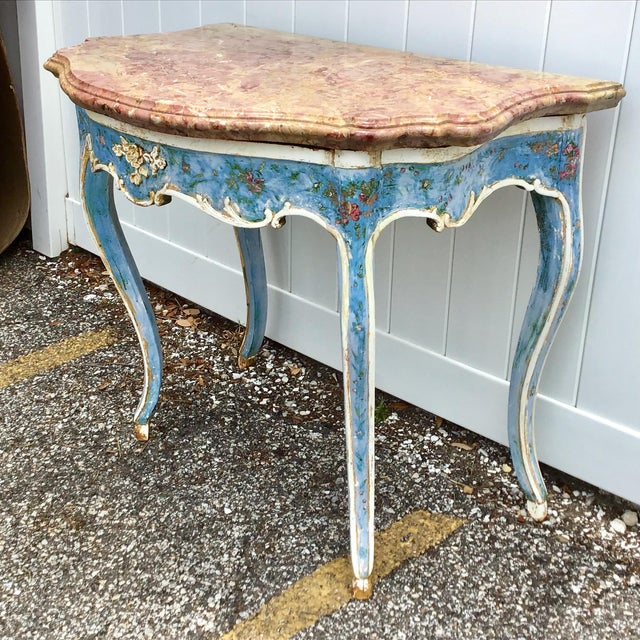 Blue Venetian Painted Marble Top Console Table For Sale - Image 8 of 12