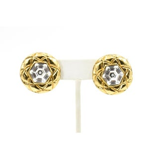 Chanel Quilted Gold Crystal Clip Earrings Preview