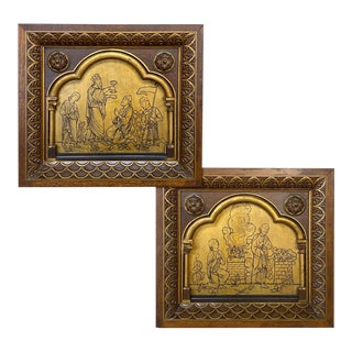 Pair 19th Century Gothic Revival Framed Gilded Wood Carvings For Sale