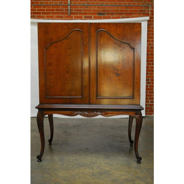 Louis XV Style Carved Walnut Cabinet on Stand - Image 3 of 10