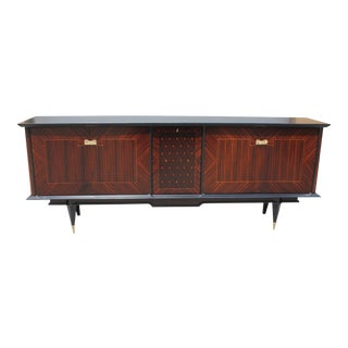 Long French Art Deco Macassar Sideboard / Buffet / Bar with diamond Center Inlay Circa 1940s.