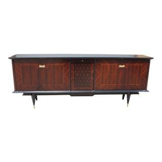 Long French Art Deco Macassar Sideboard / Buffet / Bar with diamond Center Inlay Circa 1940s.