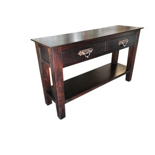 Dark Hardwood Console Table W/ Two Drawers For Sale