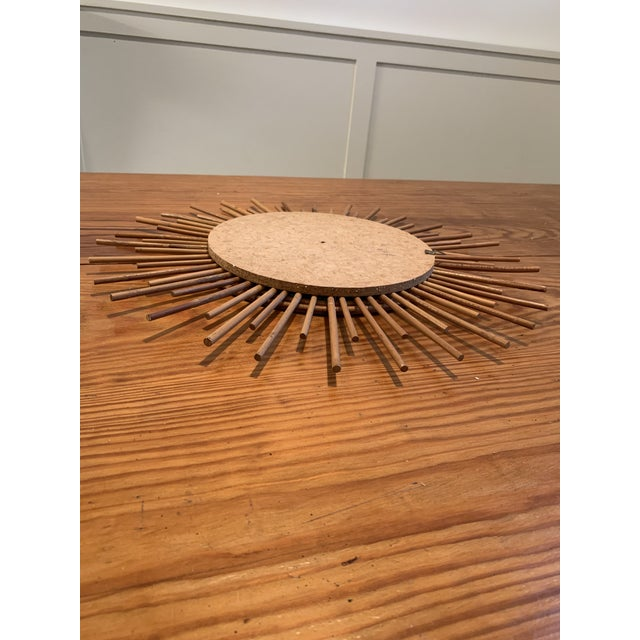 Vintage Rattan Sunburst Mirror For Sale - Image 4 of 7