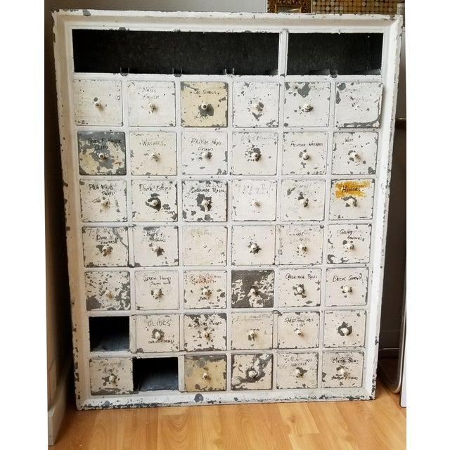 Vintage Industrial Primitive Metal Drawer Organizer Unit For Sale - Image 4 of 10