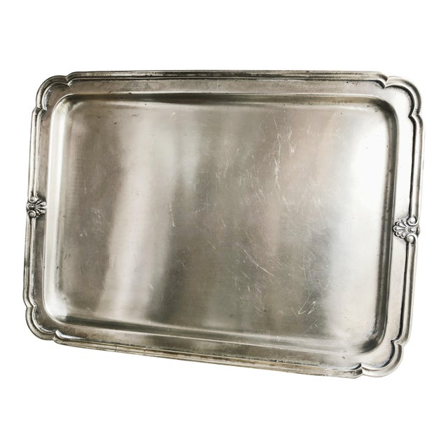 Antique Silver Plated Serving Tray From New York Central & Hudson River Railroad For Sale