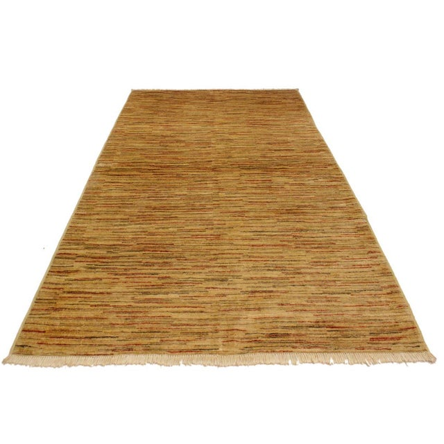 1990s Gabbeh Jacqueline Tan/Rust Wool Area Rug -4'3 X 5'9 For Sale - Image 5 of 8