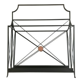 Global Views Directoire Magazine Rack/Holder in Black With Gilt Detailing For Sale