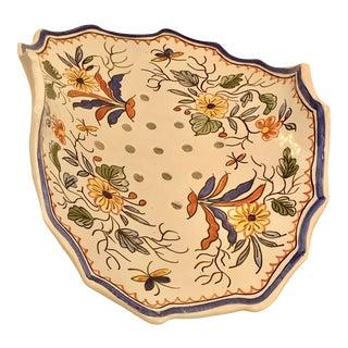 Vintage Delft Porcelain Footed Strawberry Fruit Strainer Serving Dish Tray For Sale