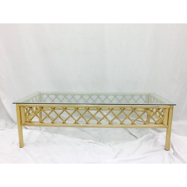 Glass Vintage Ficks Reed Rattan & Glass Coffee Table For Sale - Image 7 of 7