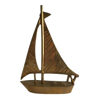 1970s Little Brass Miniature Sailboat by Dolbi Cashier For Sale