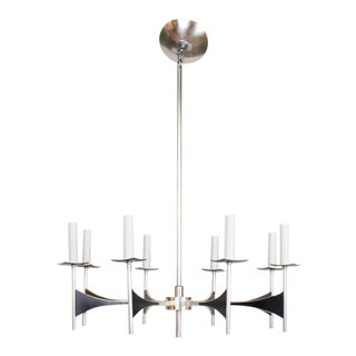 Restored Sciolari Mid Century Silverplate and Black Chandelier For Sale