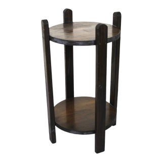 1970s Vintage Rustic Wooden Side Table For Sale