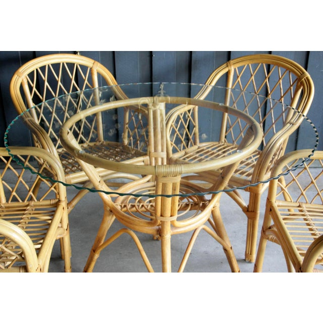 Glass Boho Chic Diamond Pattern Rattan Dining Set With 4 Armchairs, Set of 5 For Sale - Image 7 of 13