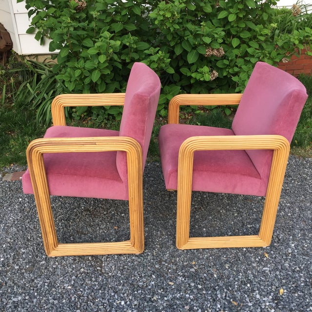 Mid-Century Modern Gabriella Crespi Style Pencil Reeded Velvet Chairs - a Pair For Sale - Image 3 of 13