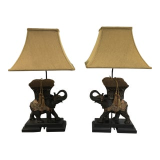 Elephant Lamps With Shades - a Pair For Sale
