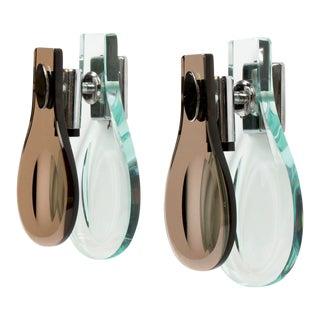 Pair Max Ingrand for Fontana Arte Glass Sconces For Sale