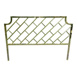 """1970's Chinese Chippendale """"Beijing"""" Brass King Size Headboard For Sale"""