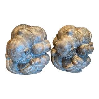 20th Century Asian Yogi Man Weeping Buddha Figures - a Pair For Sale