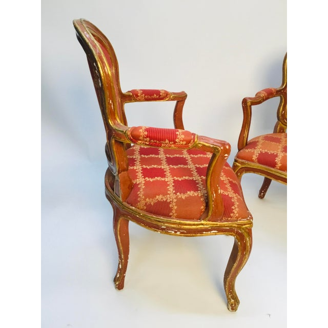 French 19th Century Venetian Louis XV Style Painted and Gilt Armchairs- A Pair For Sale - Image 3 of 13